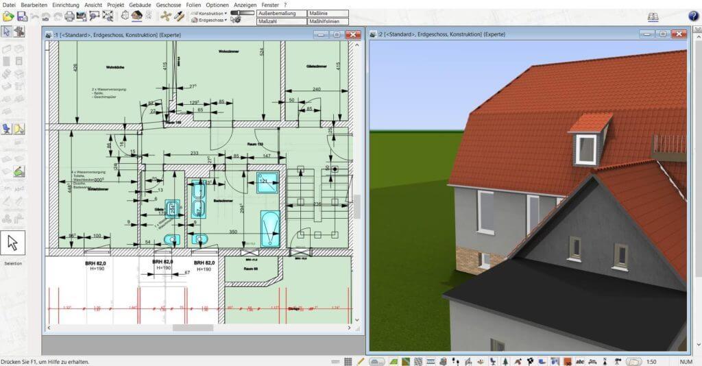 Geländer parallel in 3D und 2D planen