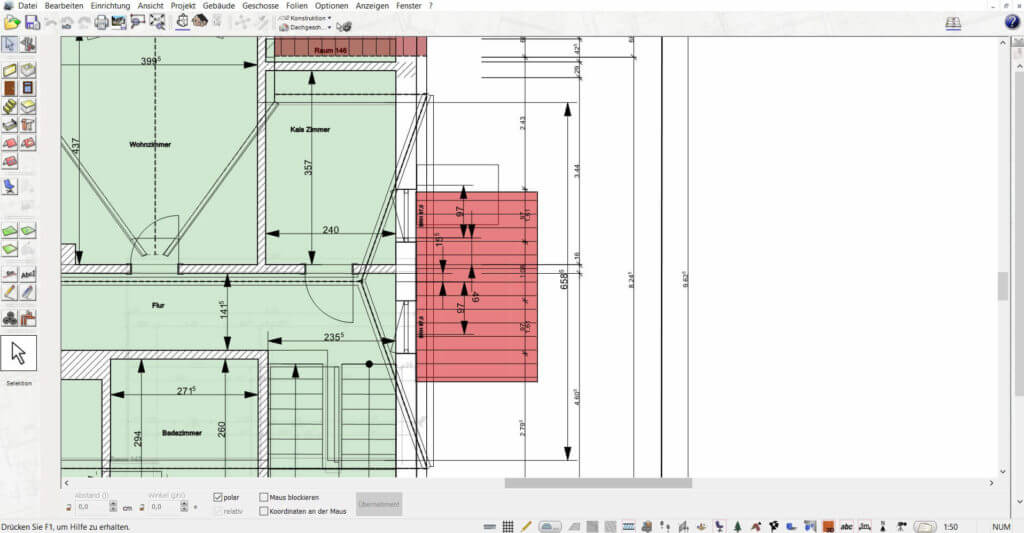 Grundriss mit Geländer planen