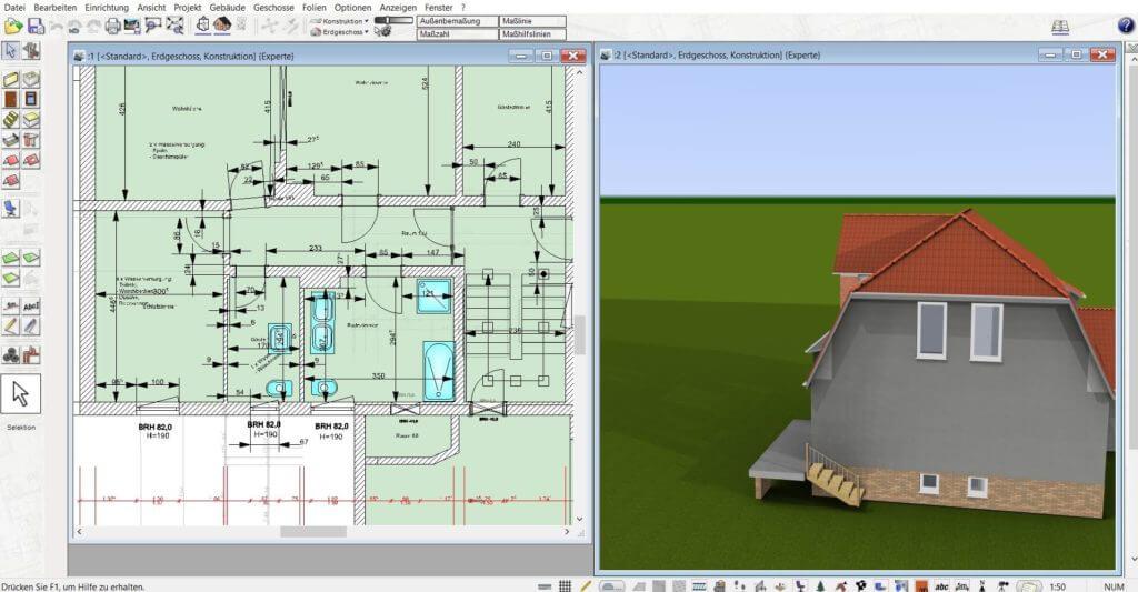 Einfamilienhaus parallel in 2D und 3D planen
