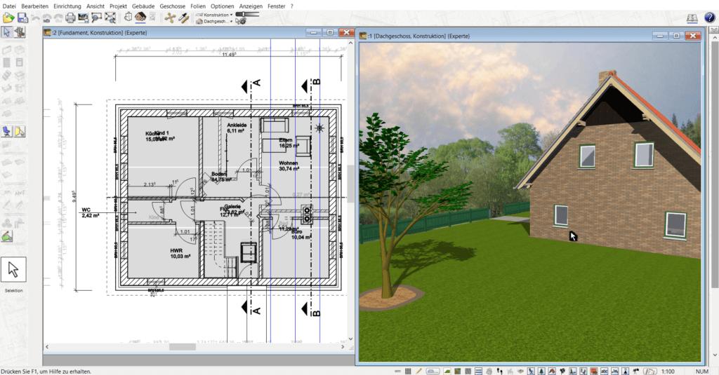 in 3D & 2D mit der Architektursoftware arbeiten