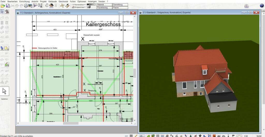 Bauplan in 3D und 2D planen