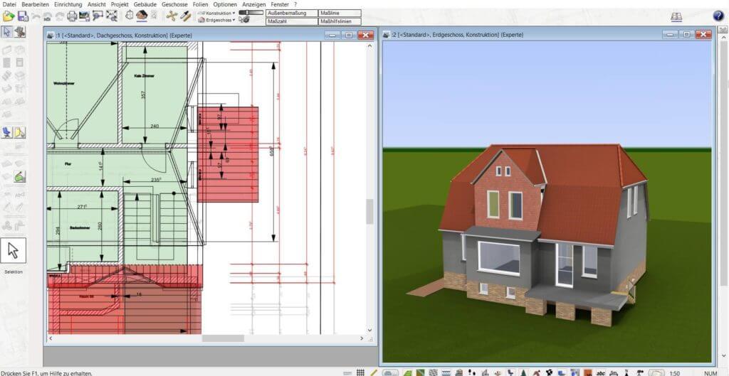 Dachstuhl in 2D und 3D parallel planen