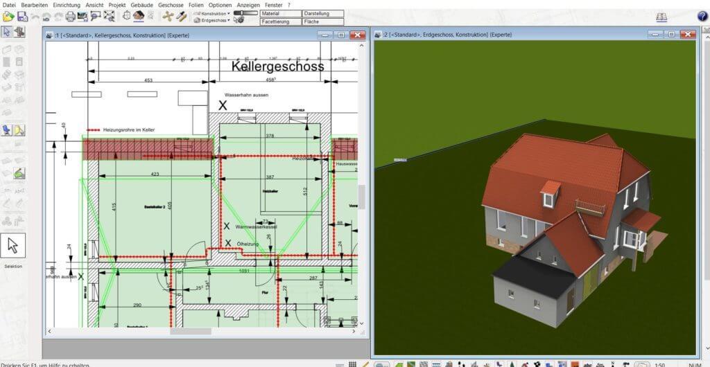 An der Terrasse in 2D und 3D parallel arbeiten