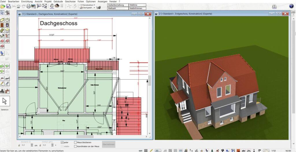 Dachausbau in 3D und 2D planen