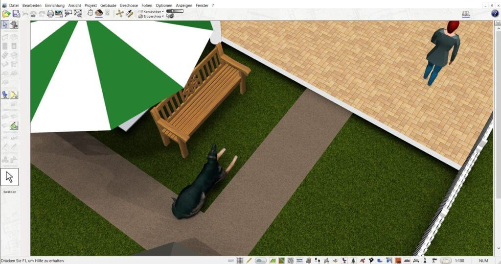 Garten mit der Hausbau Simulator Software planen