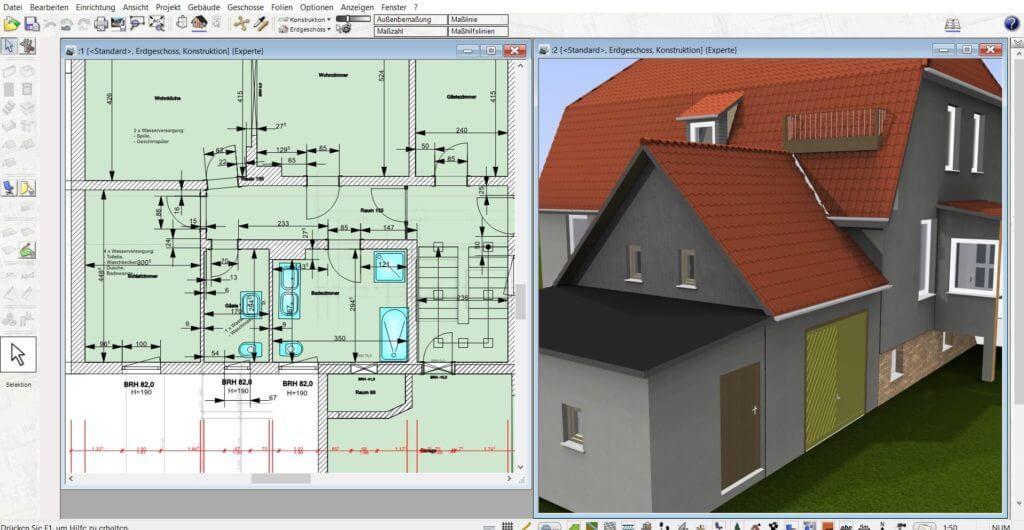 Gewächshaus parallel in 2D und 3D planen