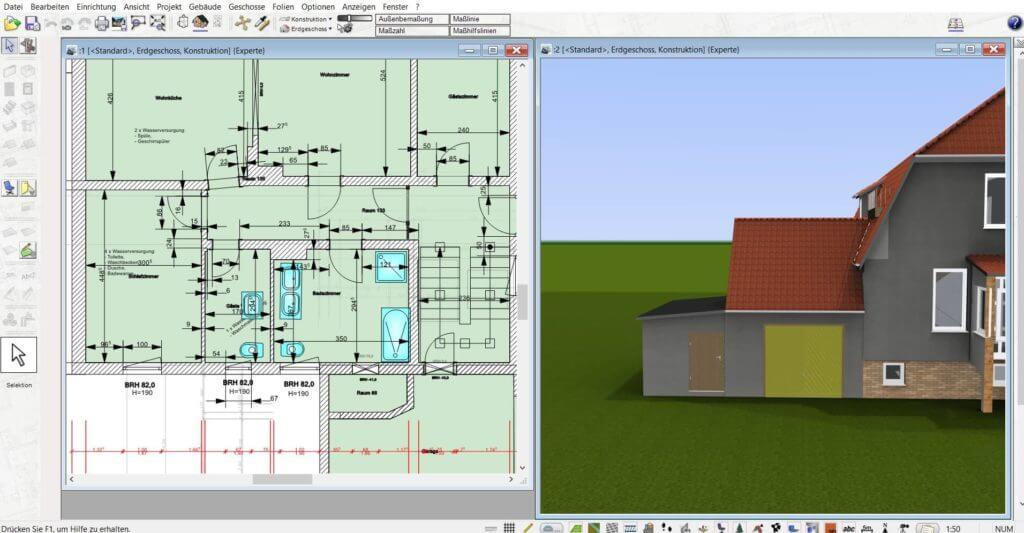 Haus parallel in 2D und 3D zeichnen