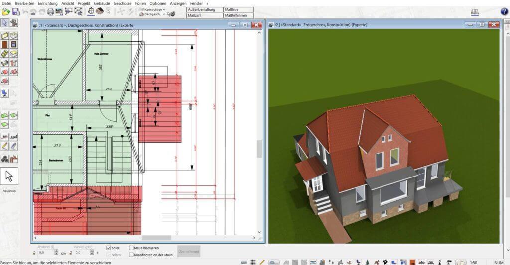 In 3D und 2D mit dem Einrichtungsprogramm arbeiten