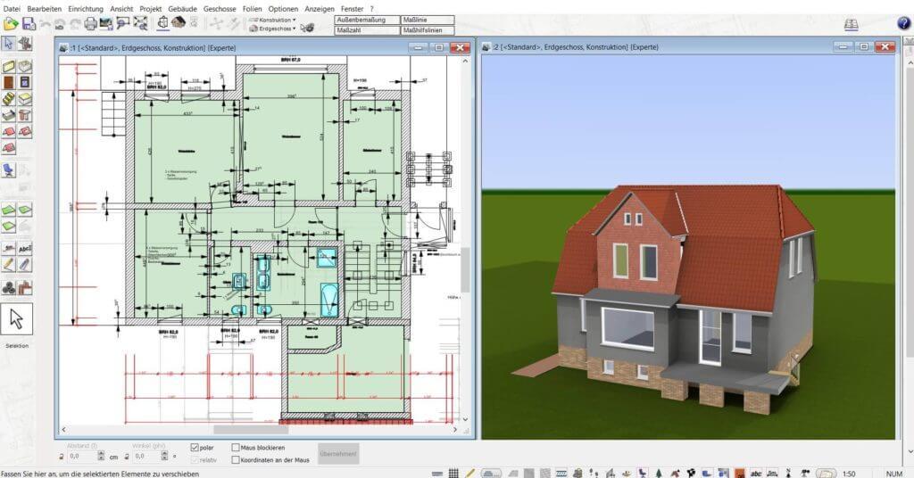 in 2D und 3D parallel planen mit der Büroplaner Software